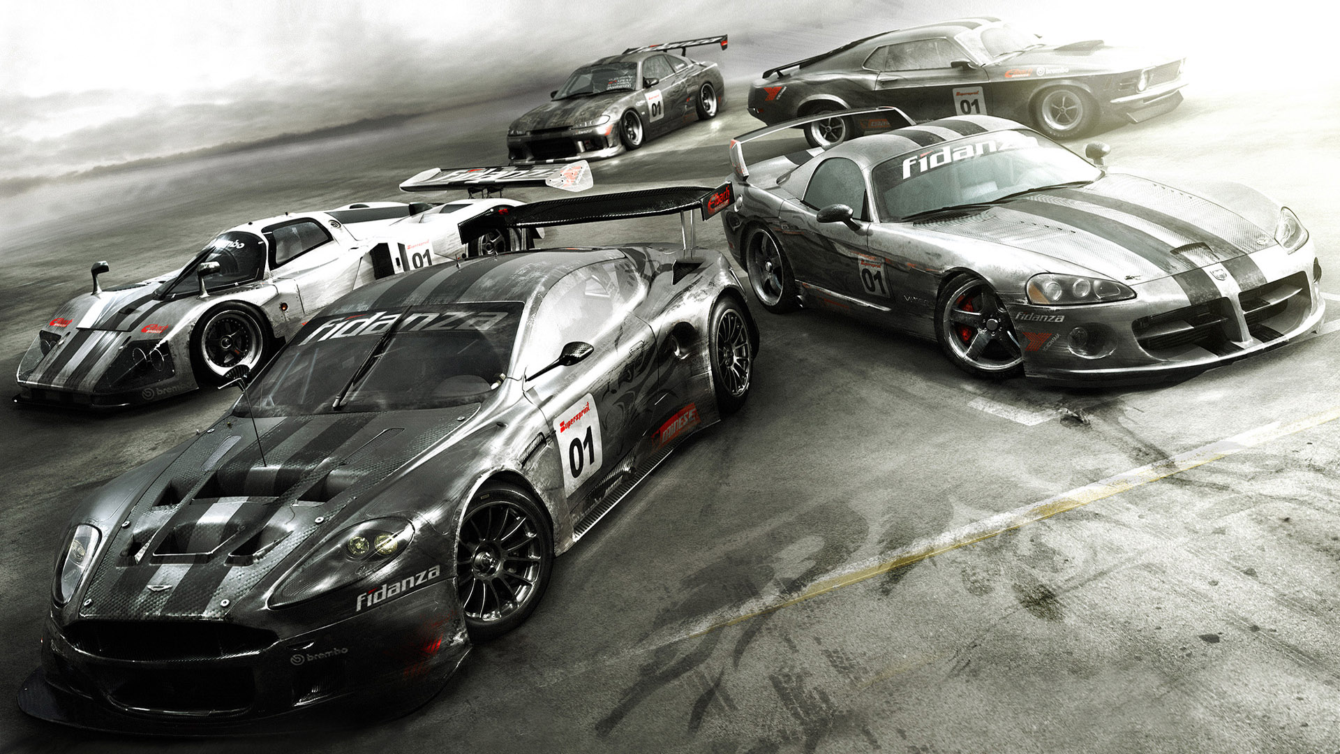 Car Racing In Race Course Car With Silver Background Hd Wallpapers  1920 X 1080